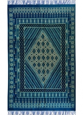 Tapete berbere Grande Tapete Margoum Memi 155x260 Azul (Artesanal, Lã, Tunísia) Tapete Margoum tunisino da cidade de Kairouan. T