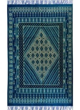 Tapis berbère Grand Tapis Margoum Memi 155x260 Bleu (Fait main, Laine, Tunisie) Tapis margoum tunisien de la ville de Kairouan.
