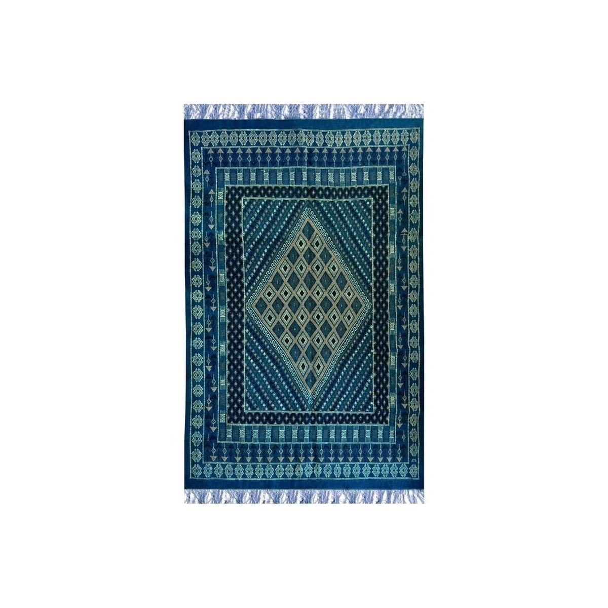 Berber carpet Large Rug Margoum Memi 155x260 Blue (Handmade, Wool, Tunisia) Tunisian margoum rug from the city of Kairouan. Rect