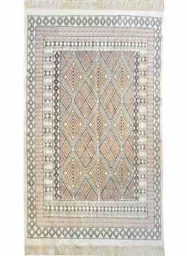 Berber carpet Large Rug Margoum Saouaf 155x240 White (Handmade, Wool, Tunisia) Tunisian margoum rug from the city of Kairouan. R