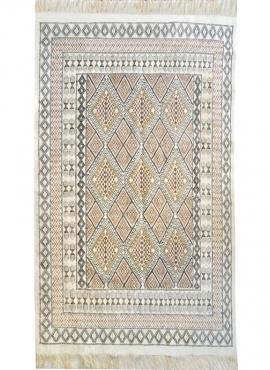 Tapete berbere Grande Tapete Margoum Saouaf 155x240 Branco (Artesanal, Lã, Tunísia) Tapete Margoum tunisino da cidade de Kairoua