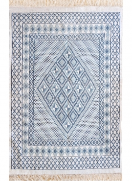 Berber carpet Large Rug Margoum Al Kasaba 170x240 Blue/White (Handmade, Wool, Tunisia)