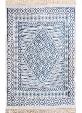 Tapis berbère Grand Tapis Margoum Al Kasaba 170x240 Bleu Blanc (Fait main, Laine, Tunisie) Tapis margoum tunisien de la ville de