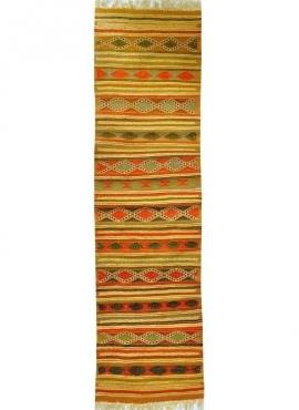 Tapis berbère Tapis Kilim long Rabat 60x210 Jaune (Tissé main, Laine, Tunisie) Tapis kilim tunisien style tapis marocain. Tapis