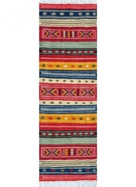 Tapis berbère Tapis Kilim long Rouhia 70x200 Multicolore (Tissé main, Laine) Tapis kilim tunisien style tapis marocain. Tapis re