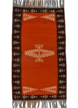 Tapete berbere Tapete Kilim Bouzid 95x170 Laranja/Preto (Tecidos à mão, Lã, Tunísia) Tapete tunisiano kilim, estilo marroquino.