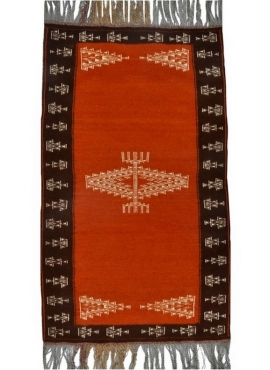 Berber Teppich Teppich Kelim Bouzid 95x170 Orange/Schwarz (Handgewebt, Wolle, Tunesien) Tunesischer Kelim-Teppich im marokkanisc