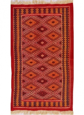 Berber tapijt Tapijt Kilim Jawhar 100x200 Rood/Veelkleurig (Handgeweven, Wol, Tunesië) Tunesisch kilimdeken, Marokkaanse stijl.