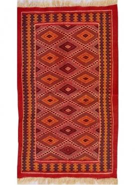 Berber Teppich Teppich Kelim Jawhar 100x200 Rot/Mehrfarben (Handgewebt, Wolle, Tunesien) Tunesischer Kelim-Teppich im marokkanis