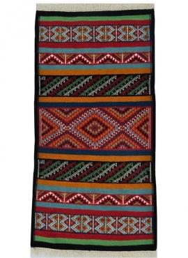 Berber carpet Rug Kilim Kef 60x110 Multicolour (Handmade, Wool) Tunisian Rug Kilim style Moroccan rug. Rectangular carpet 100% w