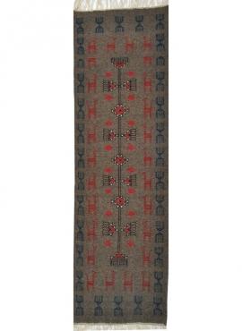 Tapis berbère Tapis Kilim long Marwen 65x230 Bleu (Tissé main, Laine, Tunisie) Tapis kilim tunisien style tapis marocain. Tapis
