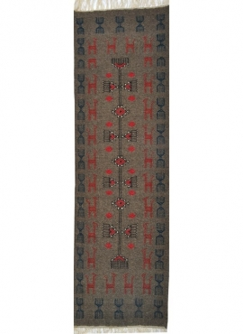 tappeto berbero Tappeto Kilim lungo Marwen 65x230 Blu (Fatto a mano, Lana, Tunisia) Tappeto kilim tunisino, in stile marocchino.