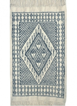 Berber carpet Large Rug Margoum Mouaadh 70x100 Blue/White (Handmade, Wool, Tunisia)