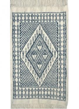 Tapete berbere Grande Tapete Margoum Mouaadh 70x100 Azul/Branco (Artesanal, Lã, Tunísia) Tapete Margoum tunisino da cidade de Ka