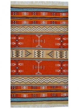 Berber Teppich Teppich Kelim Othman 110x180 Gelb/Mehrfarben (Handgewebt, Wolle) Tunesischer Kelim-Teppich im marokkanischen Stil