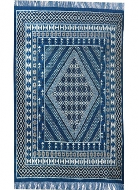 Berber carpet Large Rug Margoum Baraka 200x300 Blue (Handmade, Wool, Tunisia) Tunisian margoum rug from the city of Kairouan. Re