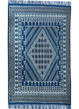 Tapis berbère Grand Tapis Margoum Baraka 200x300 Bleu (Fait main, Laine, Tunisie) Tapis margoum tunisien de la ville de Kairouan