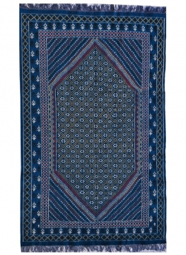 Tapete berbere Grande Tapete Margoum Rehan 200x300 Azul (Artesanal, Lã, Tunísia) Tapete Margoum tunisino da cidade de Kairouan.