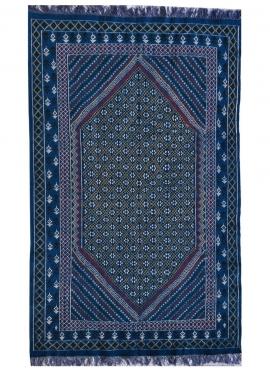 Tapis berbère Grand Tapis Margoum Rehan 200x300 Bleu (Fait main, Laine, Tunisie) Tapis margoum tunisien de la ville de Kairouan.