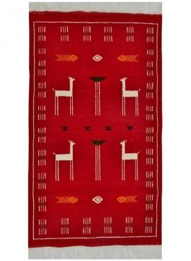 Tapete berbere Tapete Kilim Tabarka 60x100 Vermelho/Azul (Tecidos à mão, Lã, Tunísia) Tapete tunisiano kilim, estilo marroquino.