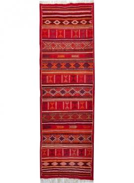 Berber carpet Rug Kilim long Tataouine 65x205 Red (Handmade, Wool, Tunisia) Tunisian Rug Kilim style Moroccan rug. Rectangular c