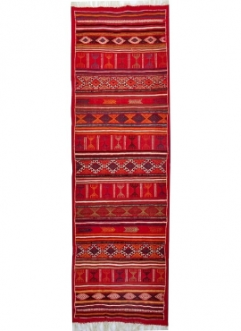Berber tapijt Tapijt Kilim lang Tataouine 65x205 Rood (Handgeweven, Wol, Tunesië) Tunesisch kilimdeken, Marokkaanse stijl. Recht