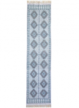 Berber carpet Large Rug Margoum Yasmina 75x300 Blue/White (Handmade, Wool, Tunisia) Tunisian margoum rug from the city of Kairou