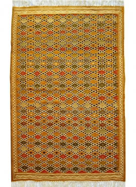 Berber carpet Rug Kilim Sahara 100x200 Yellow/White (Handmade, Wool) Tunisian Rug Kilim style Moroccan rug. Rectangular carpet 1