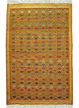 Berber Teppich Teppich Kelim Sahara 100x200 Gelb/Weiss (Handgewebt, Wolle) Tunesischer Kelim-Teppich im marokkanischen Stil. Rec
