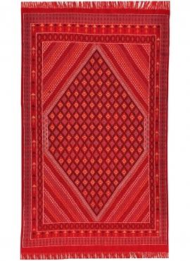 Tapete berbere Grande Tapete Margoum Sarab 200x290 Vermelho (Artesanal, Lã, Tunísia) Tapete Margoum tunisino da cidade de Kairou