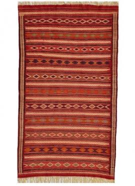 Alfombra bereber Alfombra Kilim Yakout 100x200 Multicolor (Hecho a mano, Lana, Túnez) Alfombra kilim tunecina, estilo marroquí.
