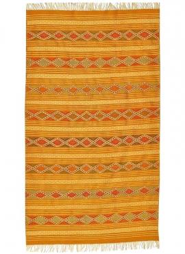 Berber Teppich Teppich Kelim Dalil 145x245 Orange/Blau (Handgewebt, Wolle) Tunesischer Kelim-Teppich im marokkanischen Stil. Rec