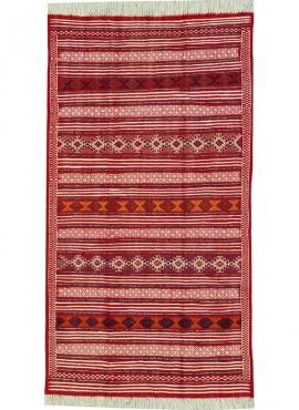 Berber Teppich Großer Teppich Kelim Mahres 110x200 Rot (Handgewebt, Wolle, Tunesien) Tunesischer Kelim-Teppich im marokkanischen