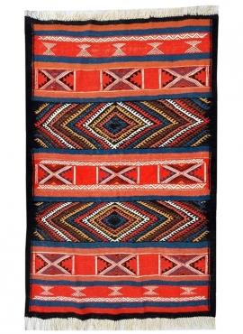 Tapete berbere Tapete Kilim Akil 77x105 Multicor (Tecidos à mão, Lã) Tapete tunisiano kilim, estilo marroquino. Tapete retangula