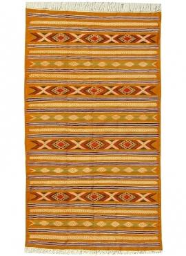 Berber tapijt Tapijt Kilim Chemtou 145x250 Geel/Wit (Handgeweven, Wol, Tunesië) Tunesisch kilimdeken, Marokkaanse stijl. Rechtho