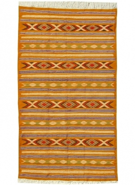 tappeto berbero Tappeto Kilim Chemtou 145x250 Giallo/Bianco (Fatto a mano, Lana) Tappeto kilim tunisino, in stile marocchino. Ta