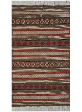 Berber tapijt Tapijt Kilim El Borma 100x150 Grijs/Rood/Blauw/Jeel (Handgeweven, Wol, Tunesië) Tunesisch kilimdeken, Marokkaanse