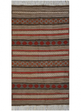 Berber Teppich Teppich Kelim El Borma 100x150 Grau/Rot/Blau/Gelb (Handgewebt, Wolle) Tunesischer Kelim-Teppich im marokkanischen