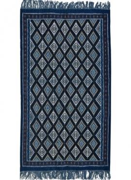 tappeto berbero Tappeto Margoum Ghilane 120x220 Blu/Bianco (Fatto a mano, Lana, Tunisia) Tappeto margoum tunisino della città di