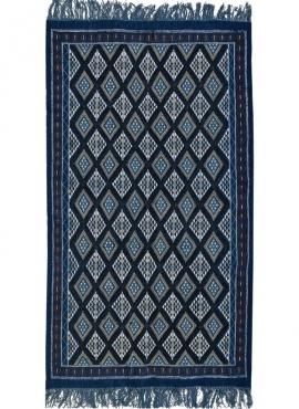 Berber Teppich Teppich Margoum Ghilane 120x220 Blau/Weiß (Handgefertigt, Wolle, Tunesien) Tunesischer Margoum-Teppich aus der St