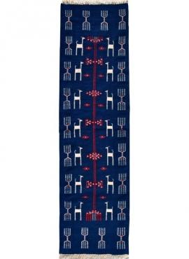 Tapis berbère Tapis Kilim long Kerkouen 65x200 Bleu (Tissé main, Laine, Tunisie) Tapis kilim tunisien style tapis marocain. Tapi
