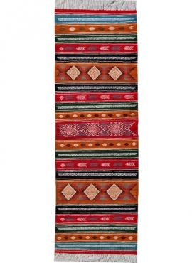 Berber carpet Rug Kilim long Kesra 65x205 Multicolour (Handmade, Wool) Tunisian Rug Kilim style Moroccan rug. Rectangular carpet