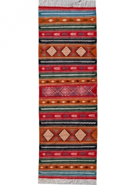 Tapis berbère Tapis Kilim long Kesra 65x205 Multicolore (Tissé main, Laine) Tapis kilim tunisien style tapis marocain. Tapis rec