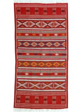 Berber carpet Large Rug Kilim Monastir 105x205 Multicolour (Handmade, Wool, Tunisia) Tunisian Rug Kilim style Moroccan rug. Rect
