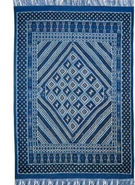 Tapis berbère Grand Tapis Margoum Yamina 165x240 Bleu (Fait main, Laine, Tunisie) Tapis margoum tunisien de la ville de Kairouan