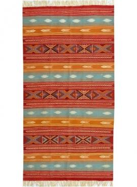 Alfombra bereber Alfombra Kilim Nafta 105x200 Multicolor (Hecho a mano, Lana, Túnez) Alfombra kilim tunecina, estilo marroquí. A