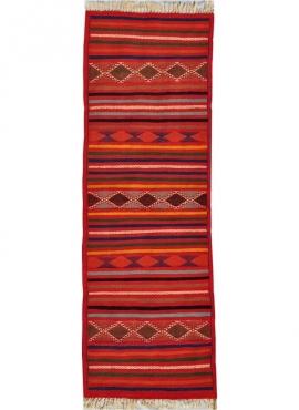 Tapis berbère Tapis Kilim long Oubeda 60x190 Multicolore (Tissé main, Laine) Tapis kilim tunisien style tapis marocain. Tapis re