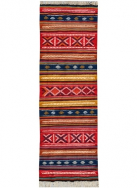 Berber tapijt Tapijt Kilim lang Oubeda 65x205 Veelkleurig (Handgeweven, Wol, Tunesië) Tunesisch kilimdeken, Marokkaanse stijl. R