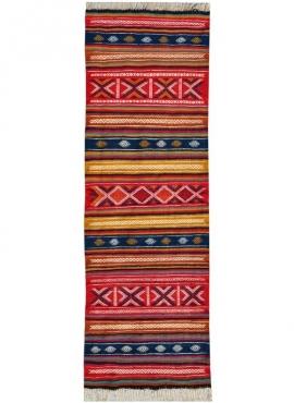 Tapis berbère Tapis Kilim long Oubeda 65x205 Multicolore (Tissé main, Laine) Tapis kilim tunisien style tapis marocain. Tapis re