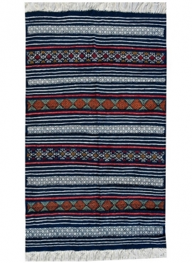 Tapete berbere Tapete Kilim Tej 98x140 Azul (Tecidos à mão, Lã, Tunísia) Tapete tunisiano kilim, estilo marroquino. Tapete retan